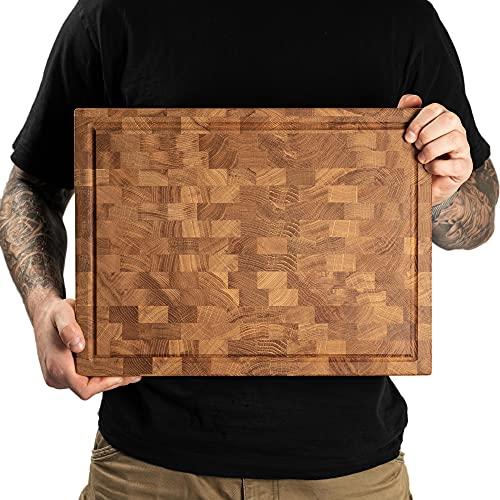Daddy Chef End Grain Cutting Board - Wood butcher block 16x12x1.5...