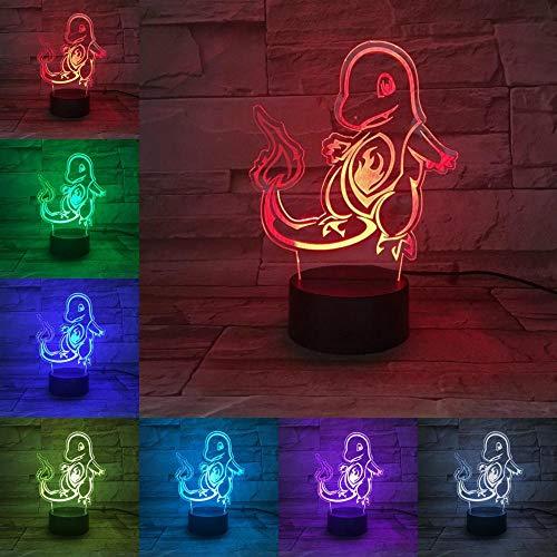 sanzangtang LED Nachtlicht 3D-Vision-Seven Farben-Fernbedienung-New Cartoon Light Pokemon Spiel Charakter Feuer Drache Feuerwehrmann Kinder Geschenk Kinder Spielzeug GadgetNachtlichter für Erwachsene