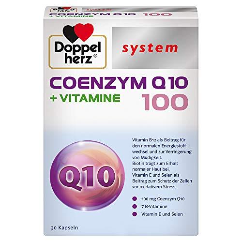 Doppelherz system COENZYM Q10 100 + VITAMINE – Mit Vitamin B1 und Vitamin B12 als Beitrag zur normalen Funktion des Energiestoffwechsels und Nervensystems – 30 Kapseln