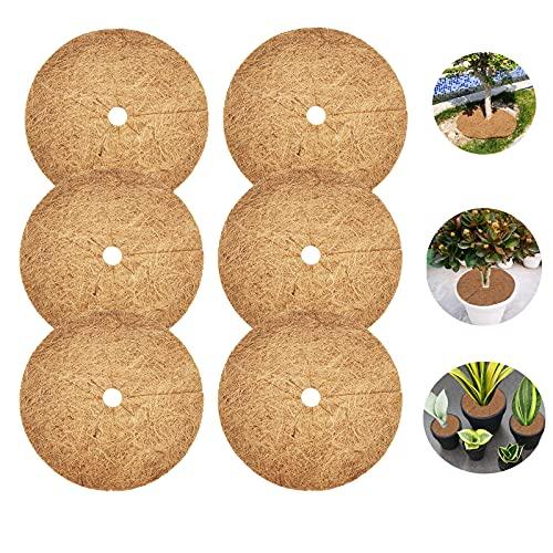 LINSOCLE 6 Pièces Tapis Coco Plante, Disque Coco, Disque de Paillage Coco, Protection d'hiver pour...