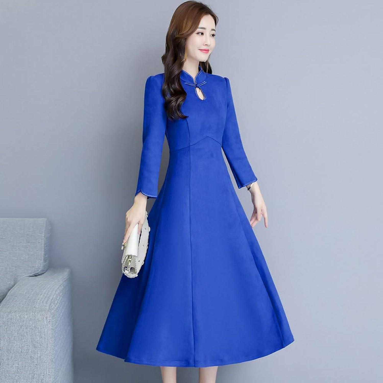 Cxlyq Dresses Autumn Solid color Cheongsam Long Sleeve Large Dress