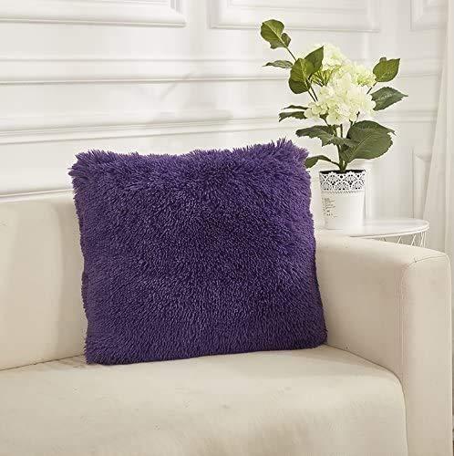 """Throw it Pack of 2 Super Soft Cozy Plush Faux Fur Square Throw Pillow Case Cover Decorative Plush Pillow Case 18""""x18"""" Purple"""