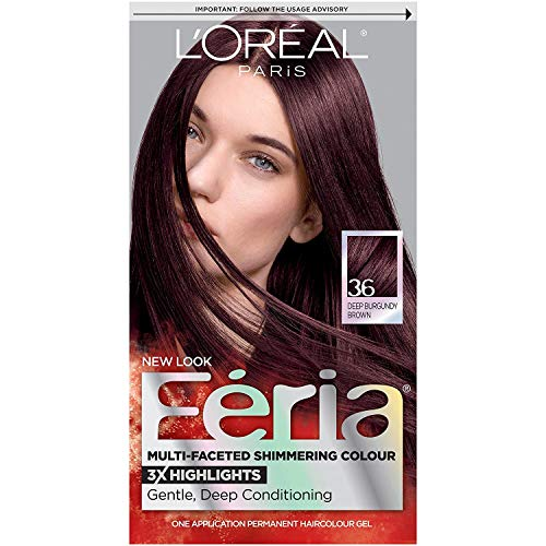L'Oreal Paris Feria Multi-Faceted Shimmering Permanent Hair Color, 36 Deep Burgundy Brown, Pack of 1, Hair Dye