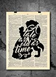 A Tale As Old As Time - Beauty And The Beast Quotes - Vintage Art - Authentic Upcycled Dictionary Art Print - Home or Office Decor - Inspirational And Motivational Quote Art