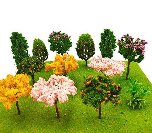 MOMOONNON 16 Pcs Miniature Fairy Garden Tree Plant Ornamentm, Mixed Model Trees 1-3 Inches, Miniature Dollhouse Pots Decor Moss Bonsai Micro Landscape DIY Craft Garden Ornament