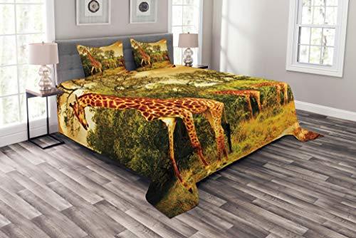 ABAKUHAUS Giraffe Tagesdecke Set, Afrikanische Safaritiere, Set mit Kissenbezügen Waschbar, für Doppelbetten 220 x 220 cm, Dunkelorange Grün