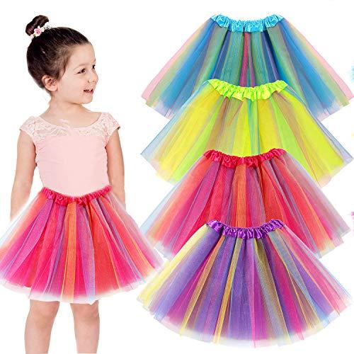 vamei 4piezas Falda Tutu para Niñas Dancewear Arco Iris Falda de Tul Danza Falda Girls Layered Tutu Skirt