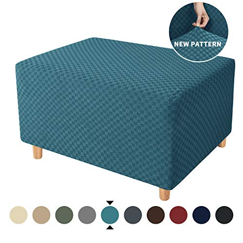 YEMYHOM Ottoman Cover Latest Jacquard Design High Stretch Folding Storage Footstool Protector Rectangle Removable Slipcover (Ottoman Large, Peacock Blue)