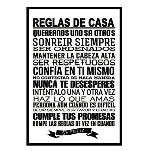 HJZBJZ Reglas de la casa española Pintura en Lienzo Carteles e Impresiones Arte de Pared para la decoración del hogar de la Sala de Estar -50X70 CM sin Marco 1 Uds