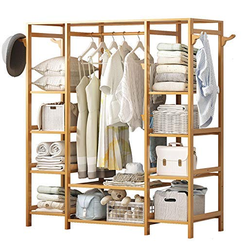 POETRY Free Standing Coat Rack Rectangular Coat Rack Coat Rack Heavy Duty Coat Hanger Storage Shelves for Home Bedroom Hall TreeB