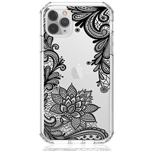 HUIYCUU for iPhone 12/12 Pro 6.1' Case, Shockproof Anti-Slip Glitter Cute Flower Print Clear Design Pattern Slim Crystal Soft Bumper Girl Women Cover Case for iPhone 12 Pro, Black Lace