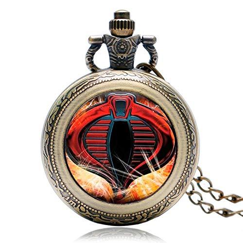 HYLK Reloj de Bolsillo Estuche Giratorio Reloj de Bolsillo de Moda Reloj Serpiente Moderna Collar de Cobra Niños Niños Niño (Color: Bronce)