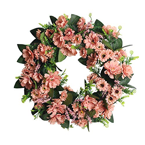 Artificial Flower Wreath Door Wreath Spring Wreath Round Wreat Door Wreath for Fall, Daisy Summer Wreath Front Door Wreath Colorful Artificial Floral Wreaths Indoor Natural Vine Flowers Wreaths 45cm
