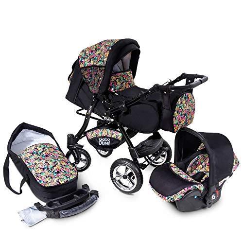 Buggie Urbano DenimParadise | 3-in-1-System | Kinderwagen, Kombikinderwagen, Babyschale, Autositz System | Zwei-Wege-Griff | Travel System | Moderner, Leichter Trolley mit Allem Zubehör Inklusive