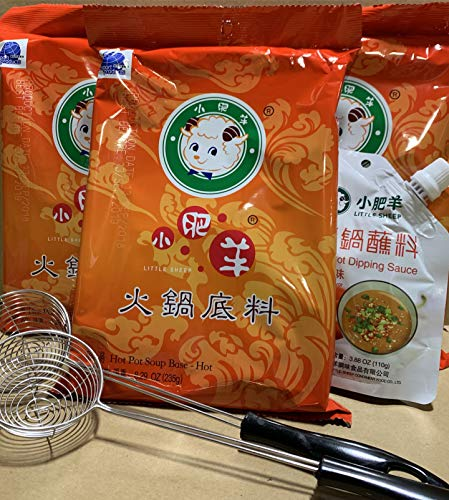 Little Sheep Hot Pot Soup Base With Dipping Sauce And 2 pcs Strianer ladleCombo Set (Spicy Soup Base)