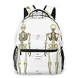 Laptop Rucksack Schulrucksack Beschriftet Didaktik des menschlichen Skeletts, 14 Zoll Reise Daypack Wasserdicht für Arbeit Business Schule Männer Frauen