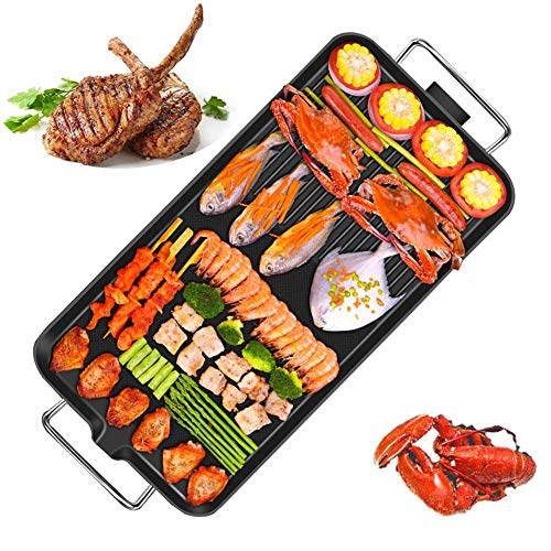 XNDCYX Teppanyaki Electric Grill Plate, Griddle Electric Smokeless, Large Non-Stick Tabletop Griddle, Hot Plate & Adjustable Temperature, 5-Level Control, 1400-1700W,Extra Large+Ten Accessories