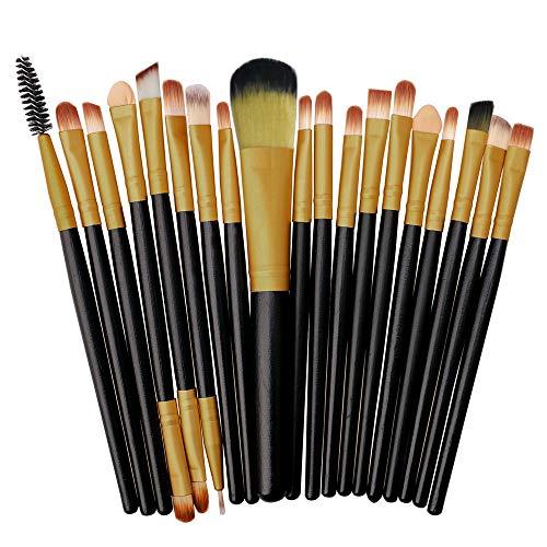 Fhuuly 20 Pcs Manche En Bois Maquillage Brosse Ensemble Outils Maquillage Trousse De Toilette Laine Maquillage Brosse Ensemble QE-874