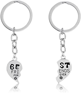 Best Friends Forever Keychain Charm Key Ring Broken Heart-Shaped Puzzle BFF Friendship Best Friends Gifts Matching Keychain Birthday Christmas Gifts