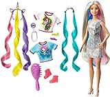 Barbie Cheveux Fantastiques poupée blonde aux longs cheveux brillants avec 2 serre-têtes fantaisie et accessoires, jouet pour enfant, GHN04