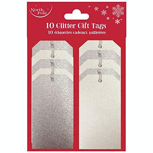 Clairefontaine X-25620-GTC - Un lot de 10 étiquettes cadeaux pailletées, Argent & blanc