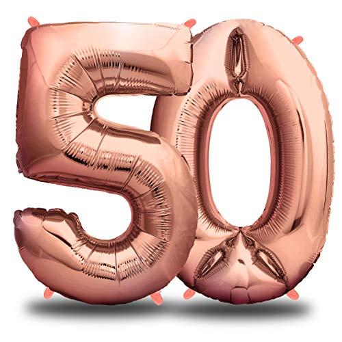 envami Folienballon Zahl I Geburtstagsdeko Rosegold I 100cm I Deko zum Geburtstag I Luftballon Zahlen Dekoration I Happy Birthday I Fliegt mit Helium (Zahl 50)