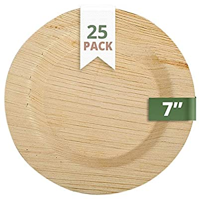 """CaterEco Deluxe Round Pure Palm Leaf Plates Set   (Pack of 25) 7"""" Salad Plates   Ecofriendly Disposable Dinnerware   Heavy Duty Biodegradable Party Utensils for Wedding, Camping & More"""