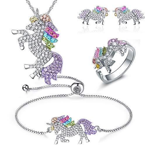 INTVN Collana con Ciondolo Braccialetti Unicorno Orecchini ad anello -Bracciale Collana con Unicorno in Cristallo Arcobaleno per Ragazze - Collana Arcobaleno con Unicorno