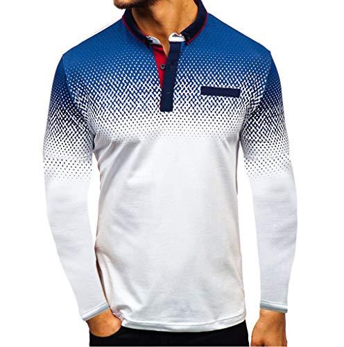 serliy😛Herren Sweatshirt Pullover Revers Langarm Hemd Mode Farbverlauf Business Hemd Lose Freizeithemd Casual Langarmshirt Männer Herbst Tops Oberteil