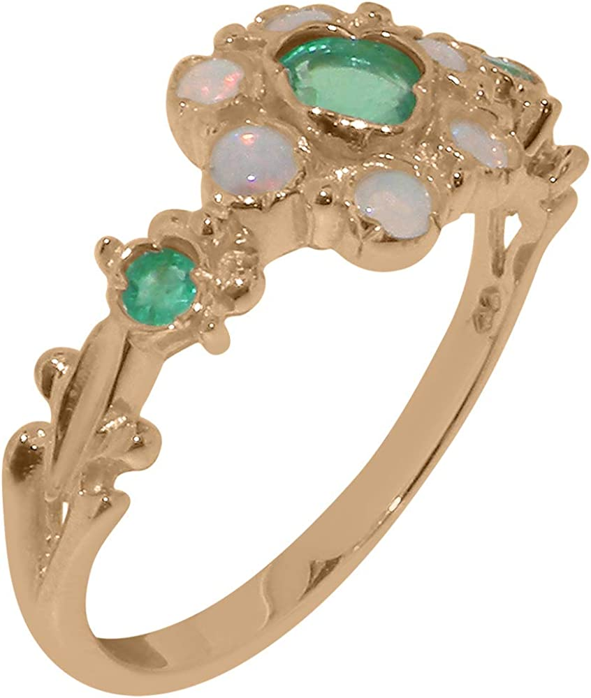 18k Rose Gold Natural Emerald & Opal Womens Ring - Sizes 4 to 12 Available