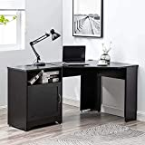 ZOYY L Shaped Office Desk 59'',L-Shape Corner Gaming Computer Desk with Storage and Drawers,Writing Studying PC Laptop Workstation for Home Office Bedroom,Black