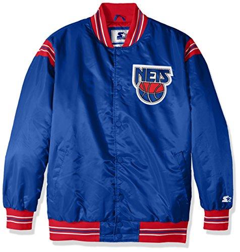 STARTER Adult Men The Enforcer Retro Satin Jacket NBA New Jersey Nets, Royal, XX-Large