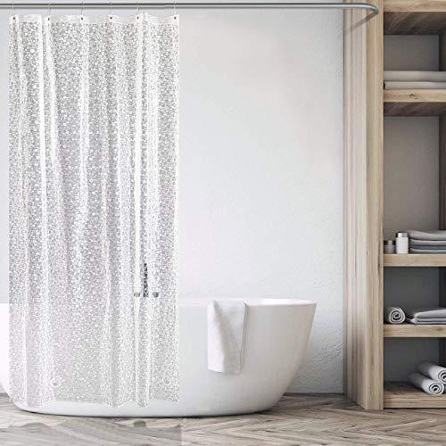 Carttiya Duschvorhang Transparent 100x180 Shower Curtains Duschvorhänge Anti-Schimmel Badevorhang - Wasserdichter Badezimmervorhang mit 12 Edelstahlhaken & Beschwertem Saum