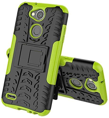 Sunrive Hülle Für LG X Power2, Tasche Schutzhülle Etui Hülle Cover Hybride Silikon Stoßfest Handyhülle Hüllen Zwei-Schichte Armor Design schlagfesten Ständer Slim Fall(grün)