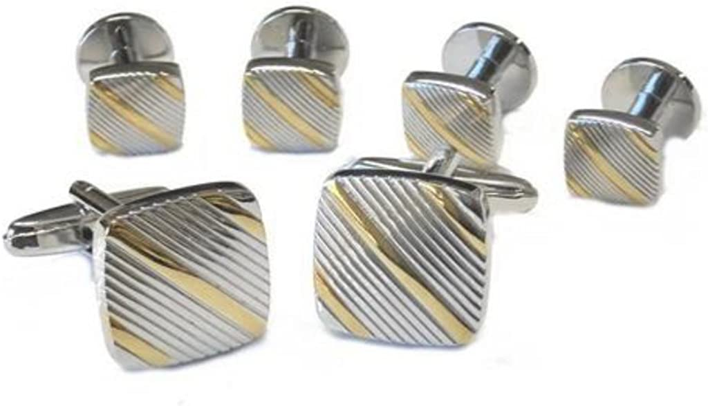 David's Formal Wear Two Tone Soft Square Diagonal Rhodium and Gold Plated Studs and Cufflinks Set
