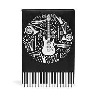 ブックカバー 文庫 a5 皮革 新書 かわいい 本カバー ファイル 資料 収納入れ オフィス用品 読書 雑貨 プレゼント 鍵柄 キー 音符柄 楽器 ギター ブラック
