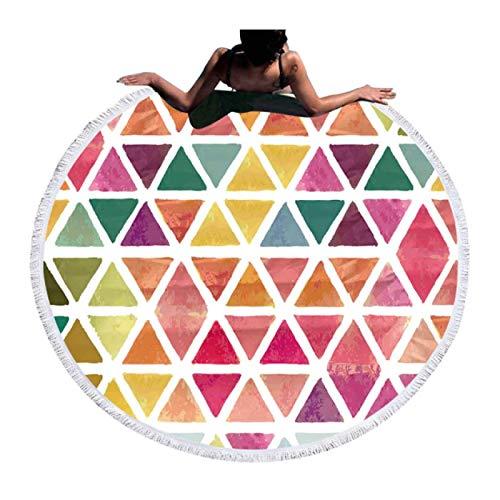 GermYan Toalla de Playa Redonda de Verano geométrica Multicolor Toallas de Ducha de baño de Microfibra Borlas Tapete para Cubrir para Mujer