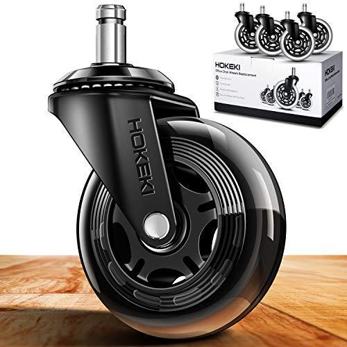 Ruedas de silla de oficina, ruedas de servicio pesado juego de 4 + 1, ruedas giratorias de 3 pulgadas para la mayoría de sillas de escritorio, sillas de juego..
