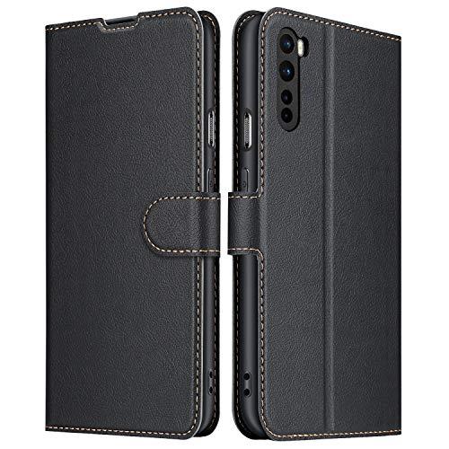 ELESNOW Hülle für OnePlus Nord, Premium Leder Flip Schutzhülle Tasche Handyhülle mit [ Magnetverschluss, Kartenfach, Standfunktion ] für OnePlus Nord (Schwarz)