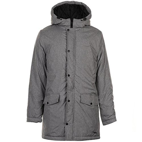 Pierre Cardin Herren Langer Gepolsterter Gefütterter Mantel mit Kapuze (Small, Grey)