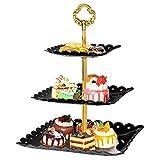 WolinTek Vassoi per Torte, 3 Strati di Frutta Piastra Supporto Alzata per Dessert, Frutta, Muffin/Alzata in Plastica per Frutta e Dolci,15 x 20 x 25 cm (Nero)