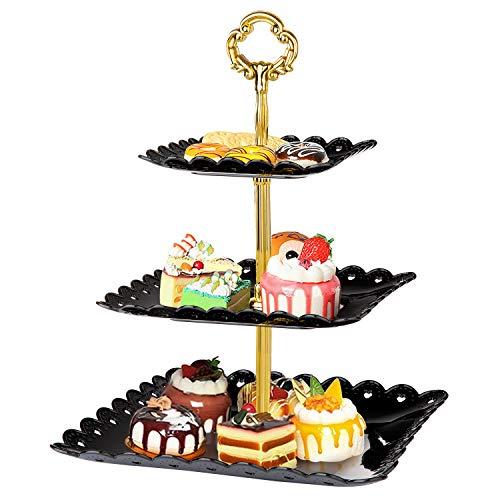 WolinTek Etagere 3 Etagen Teller Tortenständer Kuchenständer, Cupcake Ständer Gebäck Muffin Obst Halter für Party, Geburtstag, Hochzeit, Weihnachten (schwarz)
