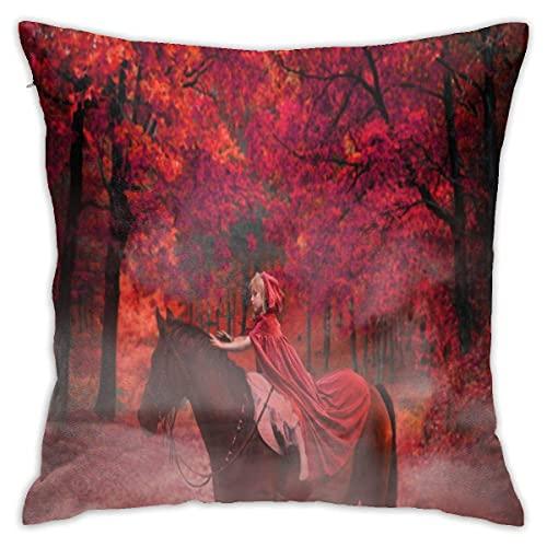 Funda de cojín decorativa con cremallera, diseño de caballo del bosque de fantasía para el hogar, sofá, dormitorio, silla de coche, casa, fiesta, interior y exterior, 45 x 45 cm