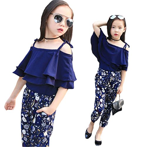 2PCS Baby Girl Short Sleeve T-shirt +Pants Set Clothes Kids Outfits Fit 2-8T 3T Blue