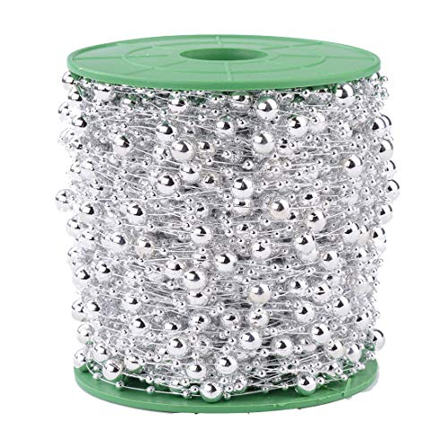 Xihui 200FT 60M 8+3mm Fishing Line Artificial Pearls Beads String Roll,Pearl Beaded Trim Decoration for Flower Tree Garland,Wedding Party,Bridal Bouquet, and Hair Band (Silver Pearl)