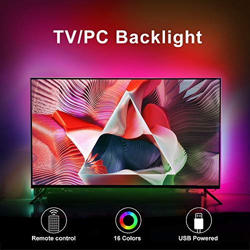 LED-TV-Hintergrundbeleuchtung, 100 cm (32 - 50 Zoll) LED-Streifen-Beleuchtungs-Set mit Fernbedienung und USB-betrieben für 32 - 50 Zoll-Fernseher, RGB