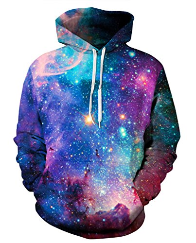 Leslady Unisex Herren Slim Fit 3D Druck Kapuzenpullover Kapuzen Sweatshirt Winter Hoodie Pullover, 5-brillante Galaxie, S-M