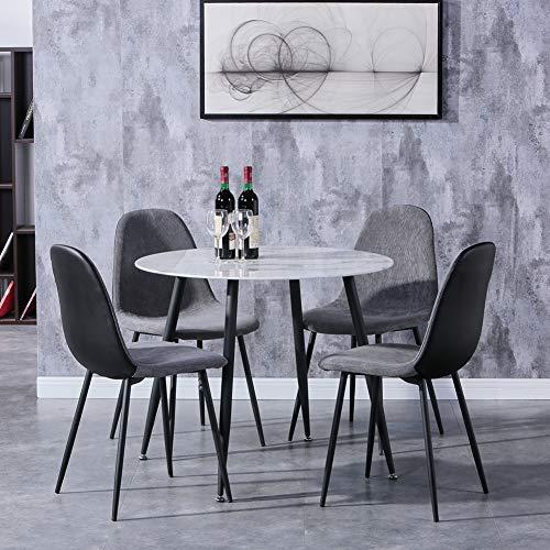 GOLDFAN Esstisch mit 4 Stuhl Glastisch und Grau Stoff Stuhl Runder Tisch Glas Marmor für Wohnzimmer Küche