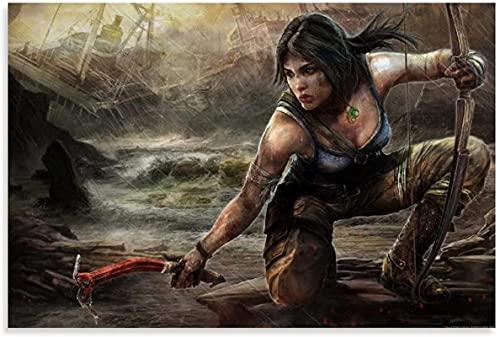 chuanglanja Lienzo Y Arte De Pared PóSter 60x80cm Sin Marco Póster de Lara Croft Tomb Raider 2012, Arte Decorativo para Pared, Carteles para Sala de Estar, Dormitorio