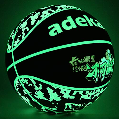 adekale Night Ball BasketballNoctilucent Ball with Fluorescent Middle BladderGlow in The Dark Basketball Camouflage StyleLight Up BasketballOffcial Size Toy Basketball Size 7 295 in